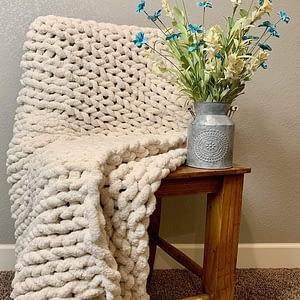 beige chenille chunky knit blanket