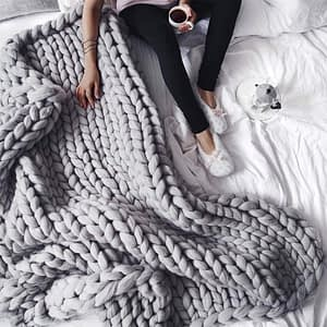 grey giant knit blanket